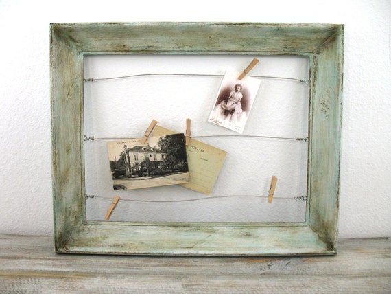 photo display painted wood frame with wire by