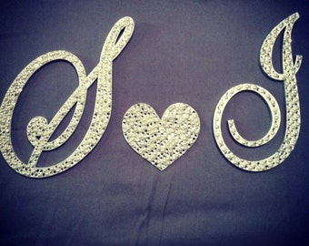 Bling 3-Monogram Separated Cake Topper