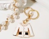 Miss Coco Little White Jacket Keychain - Gold with Pearls and Rhinestones