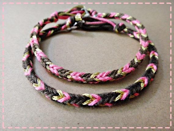 Sweet Brown Pink & Gold Color Handmade Friendship Bracelet Couple Bracelets Set of 2