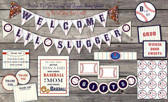 Items Similar To Baseball Baby Shower Decorations, Lil Slugger, Birthday,  Printable, Boston, Baseball Mom, Instant Download By Little Party That  Could On ...