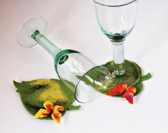 Set 2x Party Deco Party felted coasters glass coasters for wine glass butterflies,