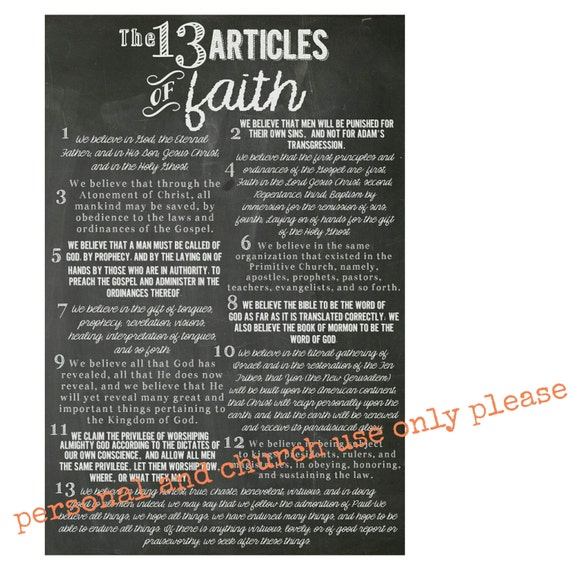 Eloquent image throughout 13 articles of faith printable