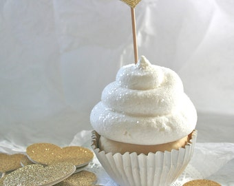 Glittered Heart Cupcake Toppers, Food Picks, Gold or custom colors