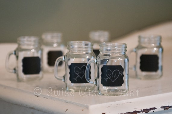 150 Mini Mason Jar Shot With Lids and Labels Placed