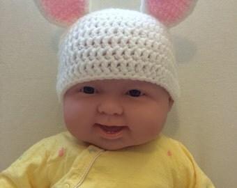 White Crochet Baby Bunny Beanie
