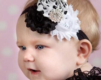 Baby headband, Black and white polka adot Shabby Headband, Shabby Chic headband, Baby headbands, Baby girl headband, toddler headband