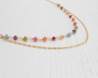 Gold jade necklace, Gold double strand necklace, Jade bead necklace