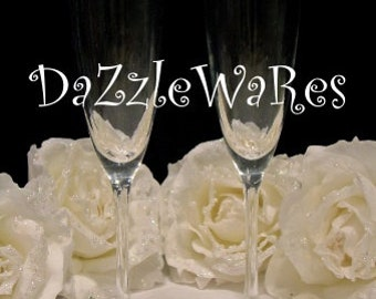 Wedding FLUTE Champagne Glasses Sparkle Base-Hand Beaded-Gifts-Special Occassion-Couture Wedding-Favors-Bridesmaids-Anniversary-Home Decor