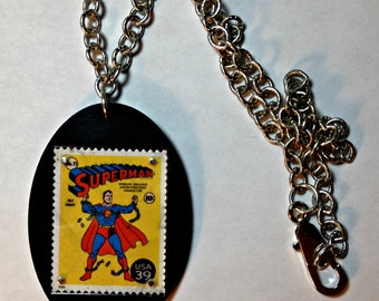 SUPERMAN Recycled Stamp Necklace