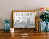 Quote wall Art Printable, Home Sweet Home Print wall art decor poster, drawing illustration family INSTANT DOWNLOAD - doodle digital
