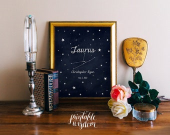 Nursery Zodiac Astrology art printable, personalized name nursery decor print, custom, digital typography stars astrological sign