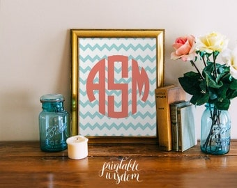 Circle Monogram Print Art, Printable wall decor poster, baby nursery children dorm, typography - chevrons, personalized initials, digital