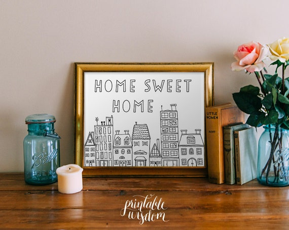 Quote wall art printable home sweet home print wall art decor Home sweet home wall decor