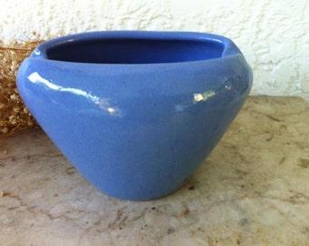 Vintage Art Pottery, Zanesville Stoneware Bowl F1, Beautiful Blue Art Pottery Vase, Nicely Pinched Rim, Arts and Crafts Era, Superior Glaze