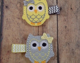 Owl Hair Clips, Yellow and Grey, Felt Hair Clips, Owl Felties - Yellow and Grey Owl Hair Clips, 2pc PAIR - Toddler Girls, Gift, Under 10