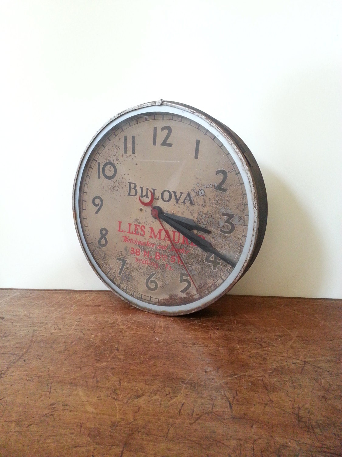 Wall Clock Vintage Bulova Industrial Advertising Wall Clock