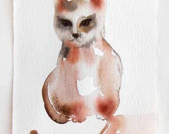 Cat watercolor painting. Watercolor art. Cat illustration. Funny cat painting. Small watercolor. Home decor.Nursery art 7, 5 by 11 inches