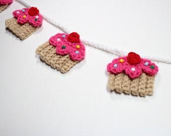 Crochet Cupcake Garland, Summer Bunting, Birthday Party Decor, Kitchen Wall Decoration, Nursery Room Wall Hanging