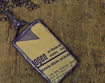 Two-sided Retro Glass Necklace , Glass and Old Newspaper, Pendant nostalgic , Statement Necklace , OOAK , Tiffany method