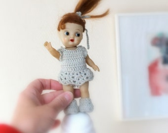 red hair girl doll- 50's vintage toy- for doll collection- girls toy doll- doll house girl- knitted - Sweetlakevintage-