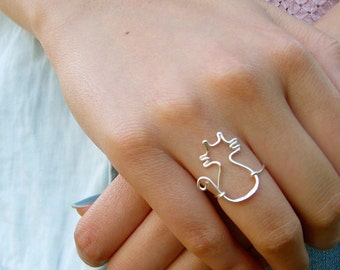 Cat Midi or Regular Ring - gold or silver
