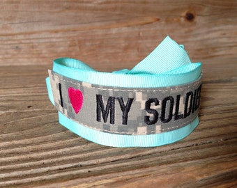 Army Wife / Army Girlfriend / Army Mom / Army Sister / I Love My Soldier / Name Tape Bracelet / ACU
