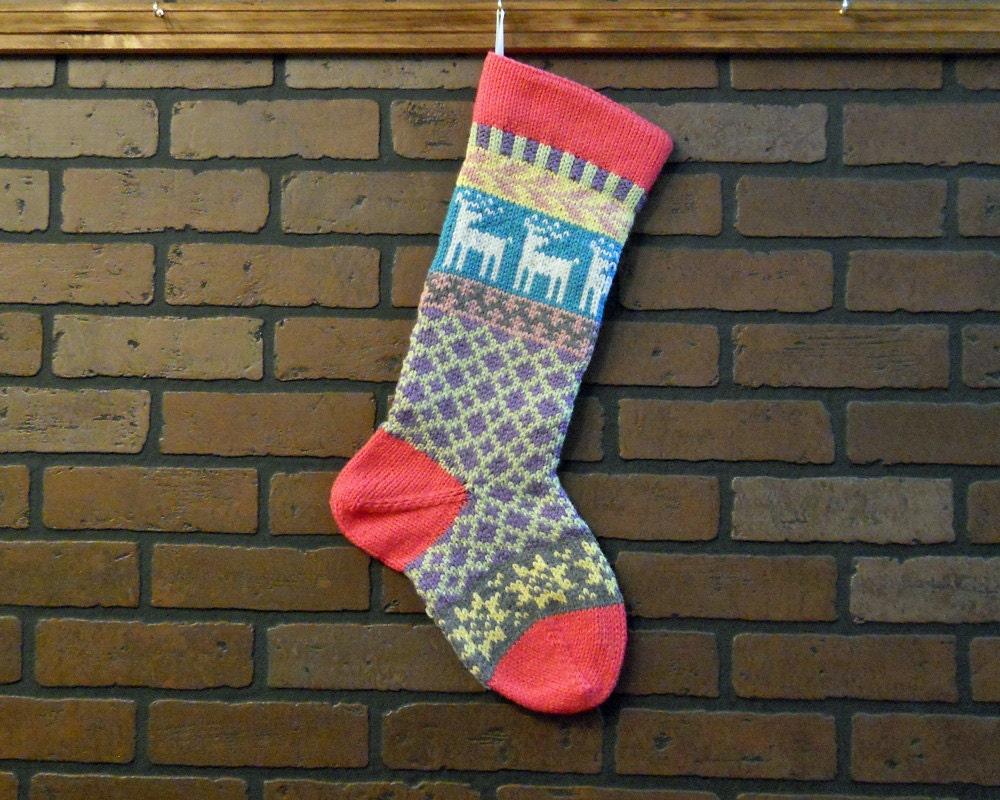 Christmas Stocking Hand Knit Fair Isle Christmas Stocking