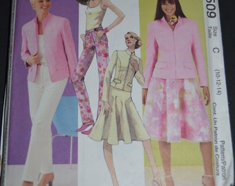 McCall's 3509 Misses Lined Jacket Top Pants and Skirt Sewing Pattern - UNCUT -Size 10 12 14