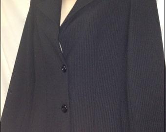 Elegant Eleonora Amadei tailored 2 button blazer black striped size 4 sample
