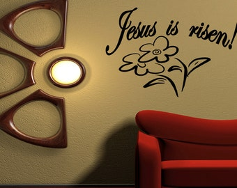 Wall Quotes Jesus is risen Vinyl Wall Decal Quote Removable Christian Wall Sticker Home Decor (M12)
