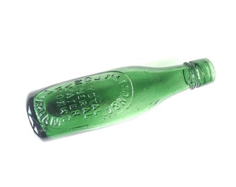 Antique green glass mineral water bottle Watson Durham UK sea glass collectable soda