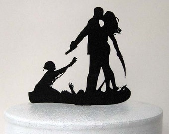 Wedding Cake Topper - Halloween Wedding Cake Topper, Zombieland Silhouette Wedding Cake Topper