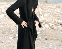 Cotton or Wool hooded sweater, fairy long gown with hood, warm wrap jacket, womens autumn winter cardigan, fantasy warrior top, pixie style