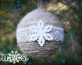 Jute Burlap Twine and Lace Snowflake Ornament 2 Pack