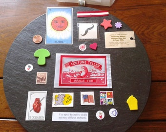fortune teller paper ephemera goods swap mix Fortune Fish VTG Swami loteria cards moustache tattoo cigar band stickers Halloween kit pack