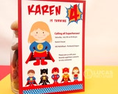 Super Girl Birthday Party - DIY PRINTABLE Invitation Card - H6a