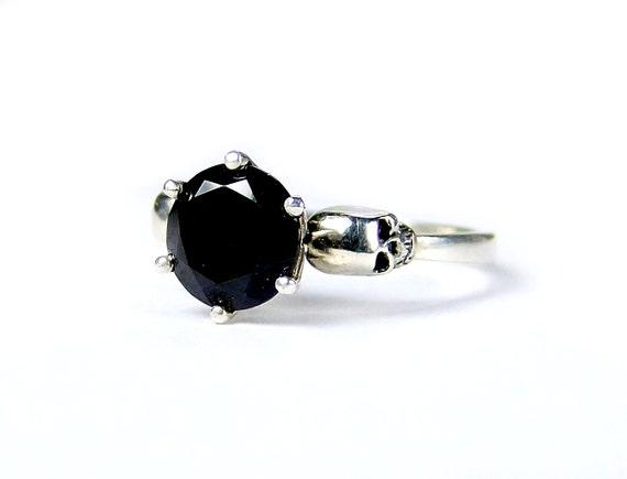 Skull Engagement Ring Women Skull Ring Black by KipkalinkaJewels