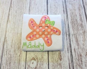 Fun Coral Girly Starfish Appliqued Shirt - Embroidered, Personalized, Monogram, Starfish, Girls Starfish Shirt, Girly Starfish, Summer