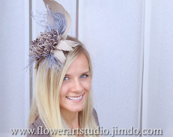Kentucky derby hat, Beige and grey fascinator, Wedding hair accessories, Mother of a bride accessories, Royal Ascot hat, Multicolor flower.