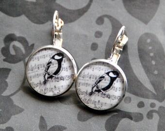 Song Bird on Music Leverback Resin Earrings 16mm