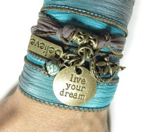 Live Your Dream Bohemian Silk Wrap Bracelet Spiritual Believe Turquoise Wrist Wrap Yoga Jewelry Boho Unique Birthday Mother's Day Gift