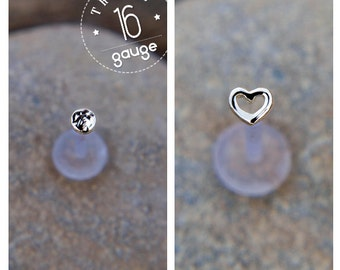 Heart and Discs TRAGUS SET 16 gauge Sterling silver Labret /16 gauge/ BioFlex/tragus heart/ tragus earring/cartilage earring