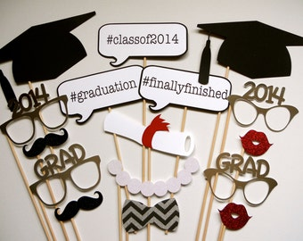 SALE TODAY ONLY 2016 Now Available Graduation Photo Booth Props . Graduation . Class of 2014, 2015, 2016 . Glitter and Metallic . Set of 16