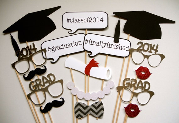 Graduation Photo Booth Props . 2014 Graduation Photo Booth Props . Graduation . Class of 2014 . Glitter and Metallic . Set of 16