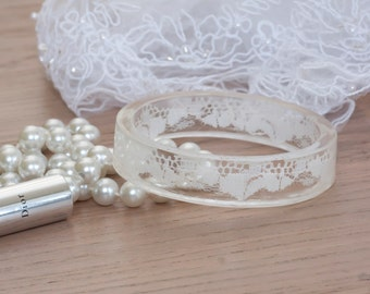 Boho weddings jewelry -Lace bangle -Resin bracelet