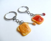 Peanut Butter and Jelly Keychain Set, Strawberry Jelly, With Knife & Spoon, Best Friend's Keychains, Cute :D