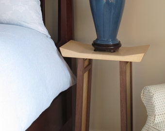 Bed Side Table/ Narrow Nightstand With Bookcase: Modern Wood Furniture   SHAPED COLLECTION
