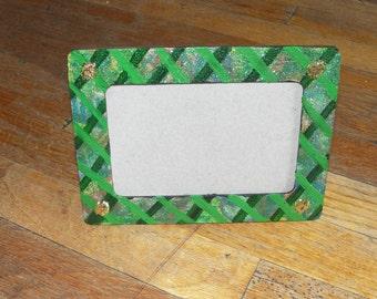 Glittery Green Crosshatch 4x6 Rectangular Frame