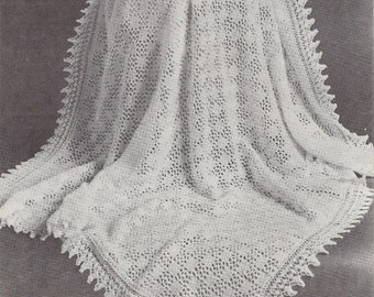 Patons Crochet Baby Shawl Patterns : Tic Tac Toe Shawl 1950s Knit Baby Afghan Pattern ...